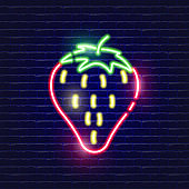 Strawberry neon icon. Glowing icon vector illustration for mobile, websites and menu designs. Food concept