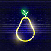 Pear neon icon. Glowing Vector illustration icon for mobile, web and menu design. Food concept