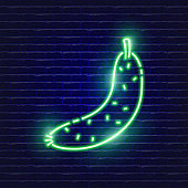 Cucumber neon icon. Glowing Vector illustration icon for mobile, web and menu design. Food concept