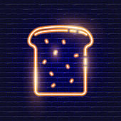 Bread slice neon icon. Glowing Vector illustration icon for mobile, web and menu design. Food concept.