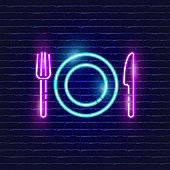 Fork, knife, plate neon icon. Glowing Vector illustration icon for mobile, web and menu design. Serving concept
