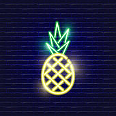 Pineapple neon icon. Glowing Vector illustration icon for mobile, web and menu design. Food concept