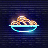 Plate noodles neon icon. Glowing Vector illustration icon for mobile, web and menu design. Food concept