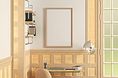 Vertical blank poster mock up on white wall in interior of traditional style living room.