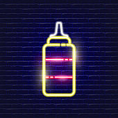 Sauce bottle neon icon. Glowing Vector illustration icon for mobile, web and menu design. Food concept.