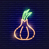 Onion neon icon. Glowing Vector illustration icon for mobile, web and menu design. Food concept