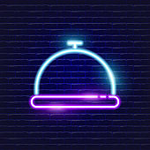 Plate with lid neon icon. Glowing Vector illustration icon for mobile, web and menu design. Restaurant concept
