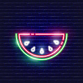 Watermelon neon icon. Glowing Vector illustration icon for mobile, web and menu design. Food concept