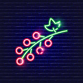 Red currant neon icon. Glowing Vector illustration icon for mobile, web and menu design. Food concept