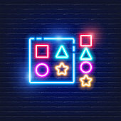 Children's sorter toy neon icon. Glowing Vector illustration of child signs for design. Children concept.
