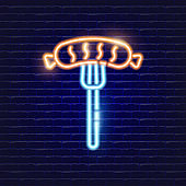 Sausage neon icon. Glowing Vector illustration icon for mobile, web and menu design. Food concept.