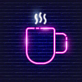 Cup of tea neon icon. Glowing Vector illustration icon for mobile, web and menu design. Street Food concept.