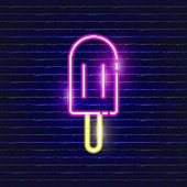 Ice cream neon icon. Glowing Vector illustration icon for mobile, web and menu design. Street Food concept.