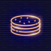 Pancakes neon icon. Glowing Vector illustration icon for mobile, web and menu design. Sweet concept