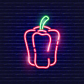 Red pepper neon icon. Glowing Vector illustration icon for mobile, web and menu design. Food concept