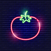 Tomato neon icon. Glowing Vector illustration icon for mobile, web and menu design. Food concept