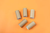 Set of bushings from toilet roll tube on orange background. DIY and kids Halloween creativity.Children Craft. Eco-friendly reuse recycle.