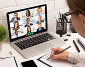 Business Woman Making Video Call Having Online Meeting In Office