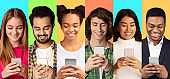 Multiethnic Young People Using Mobile Phones Over Colorful Backgrounds, Collage