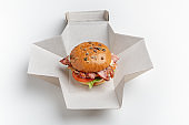 Craft burger and delicious food delivery for client at home or workplace