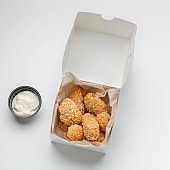 Fried crispy snacks and fast food delivery, yummy online order