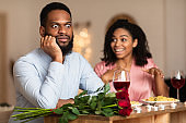 Black Couple On Unsuccessful Blind Date In Restaurant