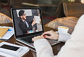Remote Communication. Unrecognizable Lady Having Web Conference On Laptop With Business Partner