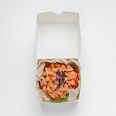 Contemporary style, salad, restaurant dish and delivery order online