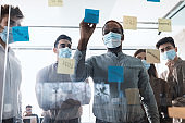 Colleagues in face masks having meeting using sticky post-it notes