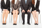 business people waiting for job interview over white