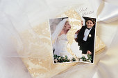 Torn wedding photo symbolizes divorce