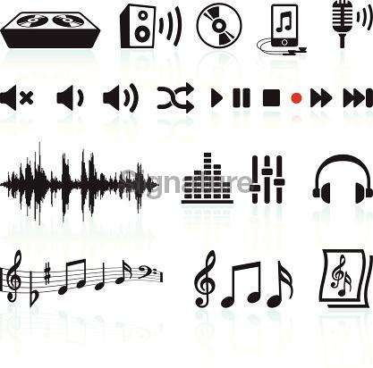 sound and music black & white icon set