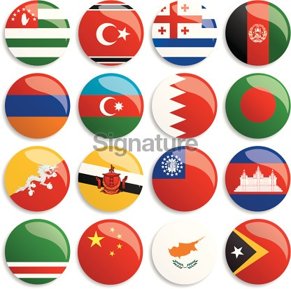 Asia flags buttons