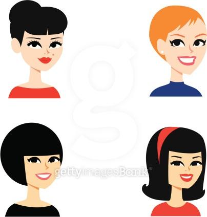 Avatar Icon Women  (Set 17) - Cartoon Girls Portrait