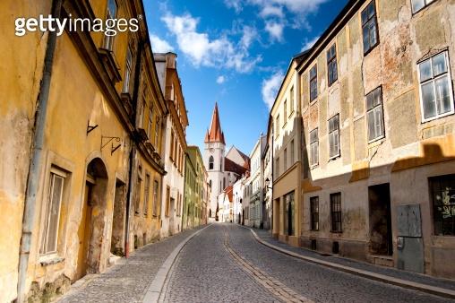 Empty cobblestone street in Znojmo, Czech Republic