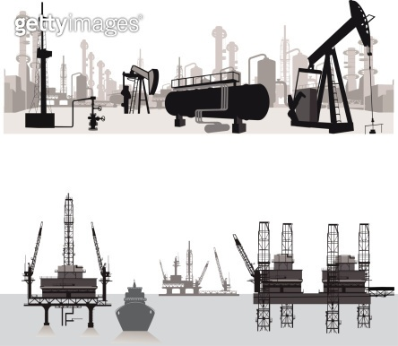 Vector illustration.Silhouettes of an oil refinery
