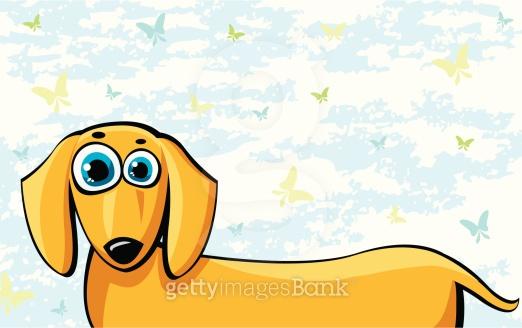 Funny cartoon dachshund dog