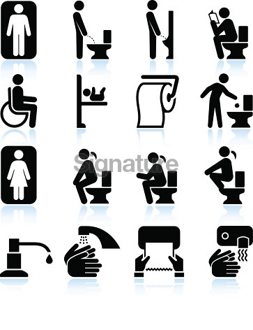 Restroom bathroom Amenities and Signs black & white set