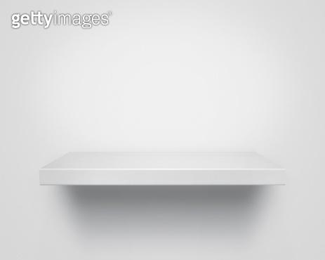 Empty wooden shelf