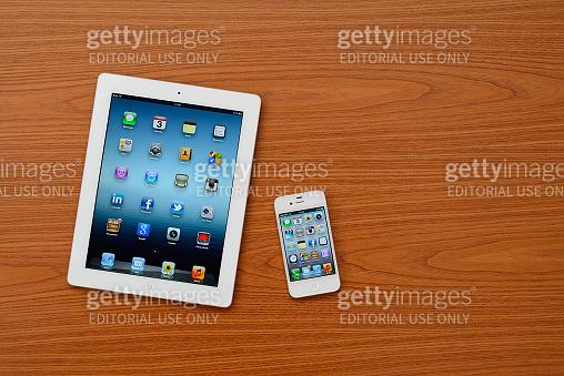 iPad 3 & iPhone 4 on blackboard