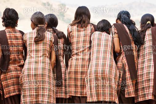 Indian School Children in Uniforms