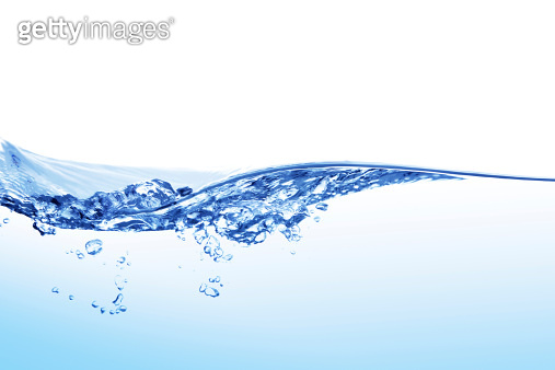 Blue water waves and bubbles rippling