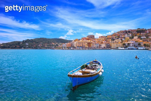 Wooden small boat in Porto Santo Stefano. Argentario, Tuscany, Italy