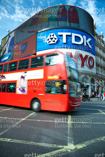 Double Decker Bus at Piccadilly Circus in London