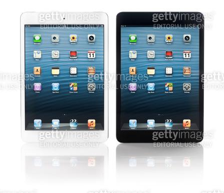 Two iPad mini in black and white