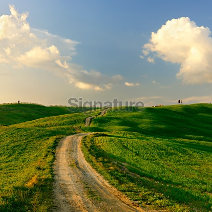 Dirt Road through Rolling Tuscany Landscape at Sunset