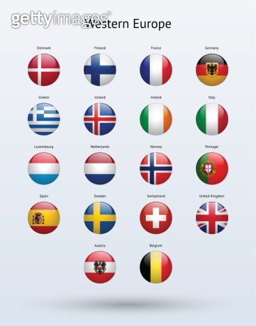 Western Europe Round Flags Collection
