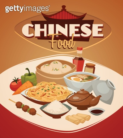 Chinese food. Vector background