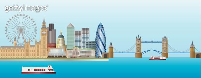 London Skyline Panorama Vector Illustration