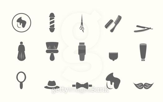 Barbers icons set